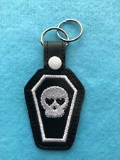 White Skull Coffin Heart Goth Keyring