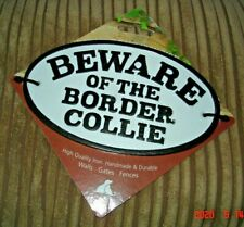 Beware Of The Border Collie Cast Iron Oval Sign NEW