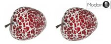 2 MIRRORED MOSAIC RED STRAWBERRIES, PAIR OF GLASS DISPLAY ORNAMENT FRUIT
