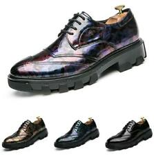 British Men Low Top Business Faux Leather Shoes Pointy Toe Oxfords Shiny Party L