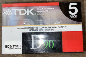 TDK D90 5 Pack Cassettes New And Sealed