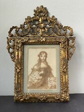 18th Century Baroque Rococo Pen Brown Ink & Wash Portrait in Gilt Wood Frame