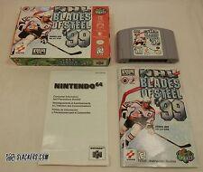 NHL Blades of Steel 99 (Nintendo 64 1999) COMPLETE IN BOX Penguins JAGR Panthers