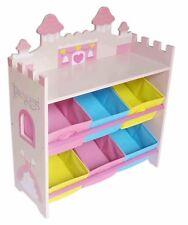 Kiddi Style Childrens Princess Wooden Shelves Storage Unit,6 Bin-Kids Toddlers
