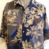 Tori Richard Hawaiian Flowers Leaves Shirt Size Large Hawaii Aloha Tropical