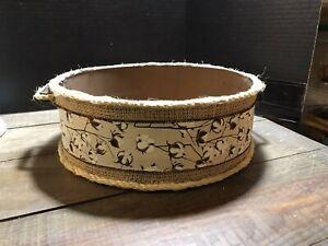 NEW Metal Round Bucket Tray Cotton Primitive Farmhouse Country
