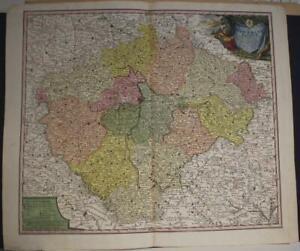 BOHEMIA CZECH REPUBLIC & POLAND 1740 HOMANN HEIRS ANTIQUE COPPER ENGRAVED MAP