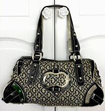 GUESS 90s Shoulder Bag Large Handbag Weekend Bag Gold & Black Vegan Leather