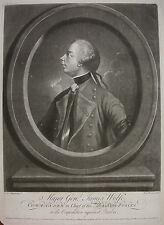 """R. Houston """"generale James Wolfe (1727-1759); Quebec"""" Mezzotint, CS 128, ~ 1760"""