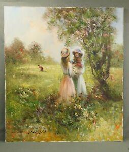MADJID RAHNAVARDKAR schönes altes Oelgemälde Mädchen im Park 70x80 cm