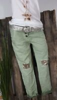 NEU ITALY☆BAGGY HOSE CRASH PANTS 👖 STRETCH 👖PAILLETTEN PATCHES GREEN M 38 40