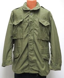 vtg US Army M65 COLD WEATHER FIELD COAT MED 70s Vietnam Satin Lined So-Sew 1974