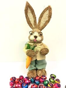 35cm STRAW RABBIT BOY CARROT HOME DECORATION EASTER BUNNY STATUE ORNAMENT