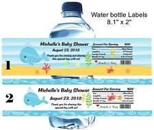 UNDER THE SEA BIRTHDAY, BABY SHOWER WATER BOTTLE LABELS CRAB, WHALE, SEAHORSE