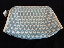 Avon Cosmetic Case - Teal Pattern On White Background - 10 X 6 1/4 X 2 1/2 - new