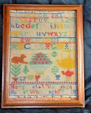 Antique 19th C. Framed Victorian Textile Sampler dated 1883
