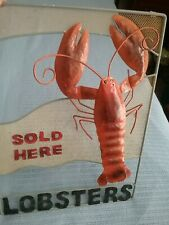 """Tin And Mesh Sign """" Lobsters Sold Here """" ~ 17"""" X 13"""" Wonderful"""