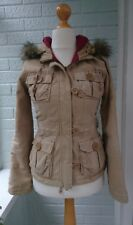 Womens Abercrombie and Fitch Parka Fur Hooded Coat Cream Beige X Small XS 8 10