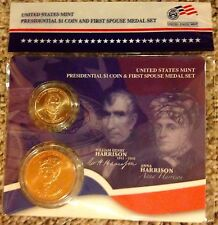 2009 WILLIAM & ANNA HARRISON PRESIDENTIAL $1 COIN+FIRST SPOUSE US MINT MEDAL SET