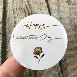 Happy Valentine's Day Stickers Rose Gold Foil Favor Stickers Gift Labels Pink