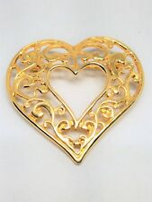 Gold tone Filigree Open Heart Vintage Pin