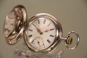 Fein Gravierte Sprungdeckel Taschenuhr gepr Silber 48mmØ