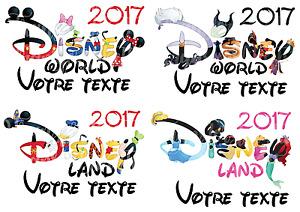 TRANSFERT POUR TEXTILE PERSONNALISABLE DISNEYLAND / WORLD VACANCES 2017