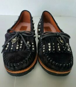 New Women's Coach Black Suede Roccasin Studded Moccasins Fur Liner 7B Dust Bag