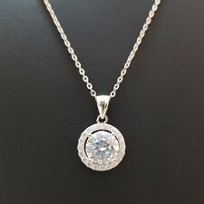 SILVAGE Sterling Silver White Round Diamond Solitaire Pendant Chain Necklace