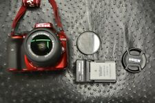 Nikon D3300 24.2MP Digital SLR Camera Red AF-S DX VR II 18-55mm SHUTTER 454 MINT