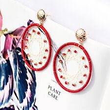 Women Big Round Bead Dream Weave Tassel Colorful Earrings Dangle Hook Ear Stud