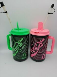 32oz Coca-Cola Coke Insulated Mug Thermos 1990s Neon Pink Neon Green Reuse