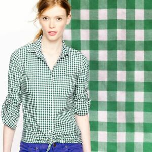 J.Crew Thomas Mason 65430 green white check long cuffed sleeve perfect shirt 6