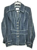 Live A Little Womens Blue Button Front Long Sleeve Peplum Casual Denim Jacket M