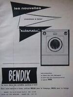 PUBLICITÉ DE PRESSE 1956 MACHINE A LAVER BENDIX AUTOMATIC - ADVERTISING