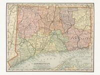 Old Antique Decorative Map of Connecticut Appleton ca. 1892