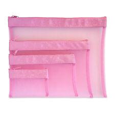 Multi Purpose 4pcs Set Mesh Bag, Mesh Project Bag, Mesh Zip Case - Pink color
