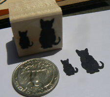 P24 Miniature Cat with kitten silhouette rubber stamp.
