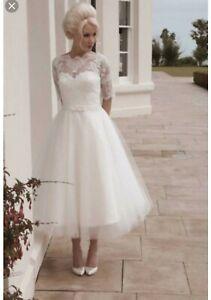 House of Mooshki Darla Tea length Wedding Dress size 16 immaculate condition