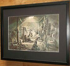Mandan Chief Hut by Karl Bodmer, 20''x16'' frame, Cowboys and Indians wall art