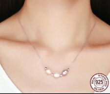 Freshwater Pearl elegant drop Necklace genuine 925 Sterling  Silver in Gift Box