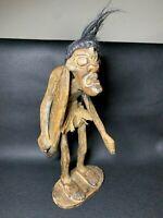 Vintage Hand Carved Wood African Tribal Art Surfing Sculpture Primitive Figure