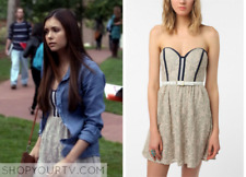 elena gilbert Pins and Needles Strapless Lace Dress