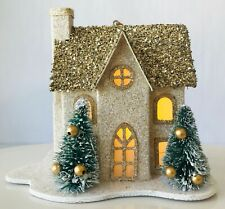 Pottery Barn Lighted Glittery House Christmas Ornament Gold w/ Little Trees New