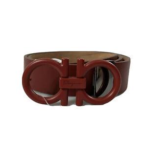 Y-1364143 New Salvatore Ferragamo Gancini Buckle Red Leather Belt Size 34 Fit 32