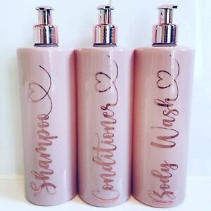 Personalised Pink Soap Bottles Dispensers with Pump, Shampoo,Conditioner