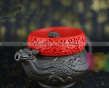 Vintage China Cinnabar Bangle Red Flower Carving Bracelet