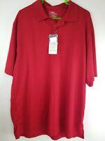 NWT! PGA Tour Mens Polo Short Sleeve Golf Shirt Tour Dry Performance Size XL Red