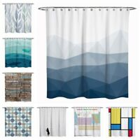 Fabric Shower Curtain Bathroom Water Repellent Blue Teal Quotes Stripe Natures