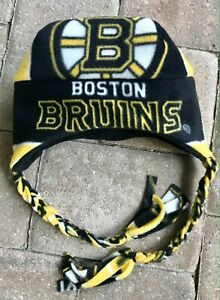 Boston Bruins Ear Flap & Braids Fleece Hat - Sizes Newborn Boys Girls Men Women